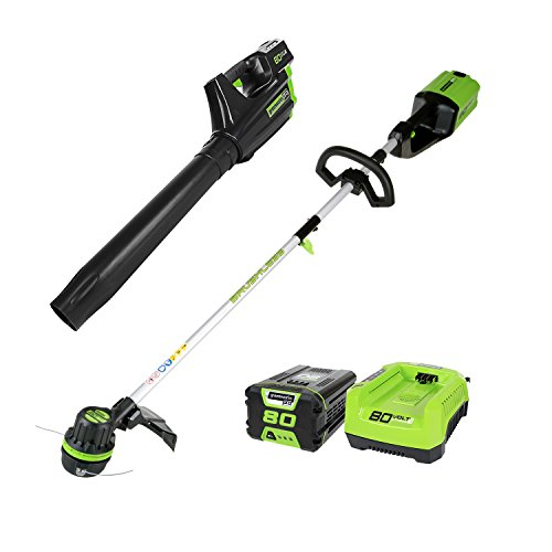 Greenworks PRO 80V Cordless String Trimmer & Blower Combo, 2.0 AH Battery Included STBA80L210