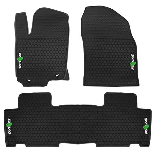 biosp Car Floor Mats fit Toyota RAV4 2014 2015 2016 2017 2018 Front and Rear Seat Heavy Duty Rubber Liner Black White Vehicle Carpet Custom Fit- All Weather Guard Odorless
