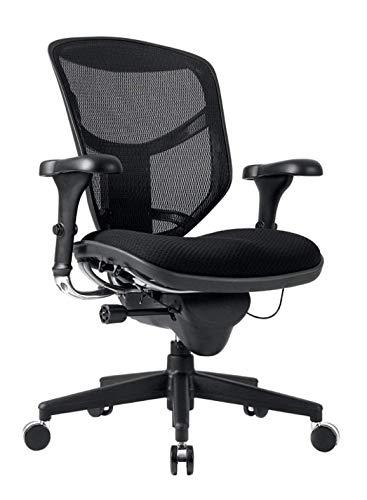 WorkPro Quantum 9000 Series Ergonomic Mid-Back Mesh/Fabric Chair, Metal Trim/Black