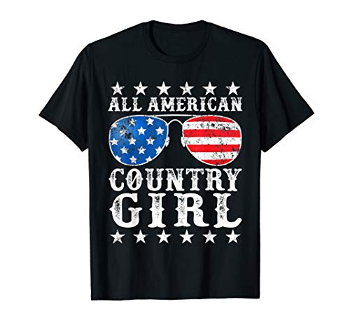 All American Country Girl 4th of July USA Flag Girls Gift T-Shirt