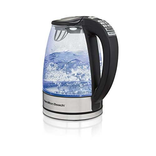 Hamilton Beach 40941 Glass Electric Kettle with 6 Programmed Adjustable Temperature Settings, 1.7 Liter Stainless Steel