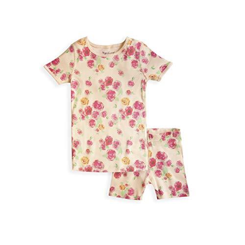 Skylar Luna Girl's Short Sleeve Rose Print Pajama Set - 100% Organic Cotton Shirt Shorts - Roses - Size 4T