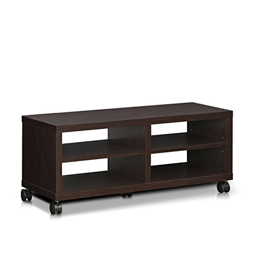 Furinno Indo FL-4010EX 2-Tier Low Rise TV Entertainment Stand with Casters, Espresso