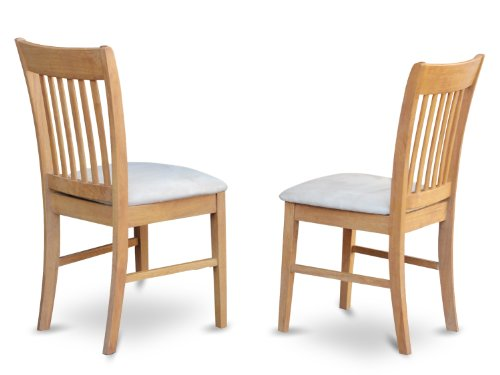 East West Furniture NFC-OAK-C Kitchen/Dining Chair Set with Cushion Seat, Oak Finish, Set of 2