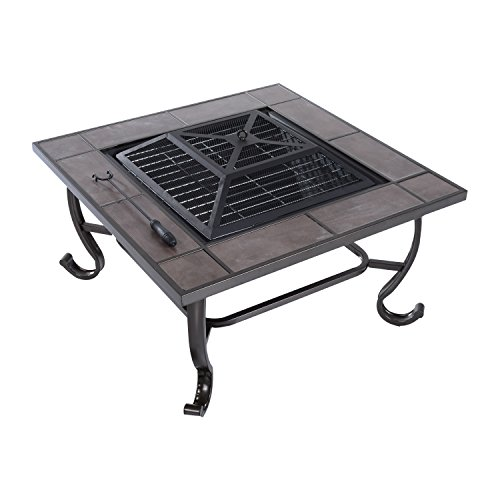 "Outsunny 34"" Square Wood-Burning Outdoor Metal Fire Pit - Black"