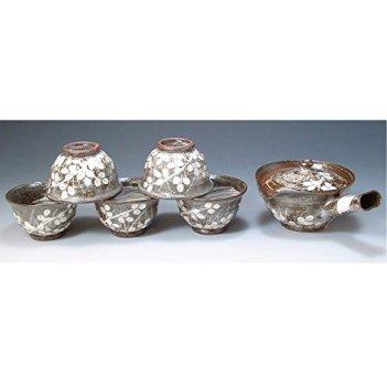 Kiyomizu-kyo yaki ware. Set of Japanese yunomi teacup and kyusu teapot hagigasane with paper box. ceramic. kymz-JSH202