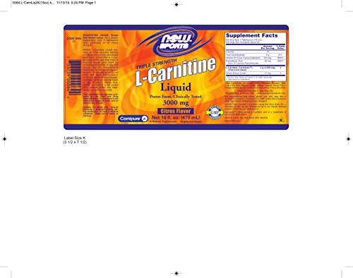 NOW Sports L-Carnitine Liquid 3000 mg, Citrus, 16-Ounce
