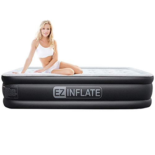 EZ INFLATE Upgraded Twin air Mattress with Built in Pump, Luxury Twin Airbed, Inflatable Mattress for Home Camping Travel, Luxury Twin Size Blow up Bed, 2-Year Warranty