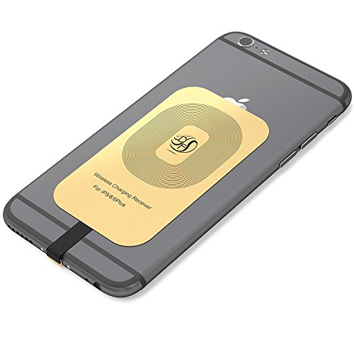 Apple Gold Receiver Compatible with iPhone 7, 7 Plus, 6, 6 Plus, 6s, 6s Plus, 5, 5s, 5c Fast Speed Wireless Qi Charger: The Piece You were Missing,This Card Works with Any Charging Pad.