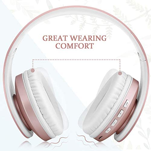 Bluetooth Headphones,TUINYO Wireless Headphones Over Ear with Microphone, Foldable & Lightweight Stereo Wireless Headset for Travel Work TV PC Cellphone-Rose Gold 15