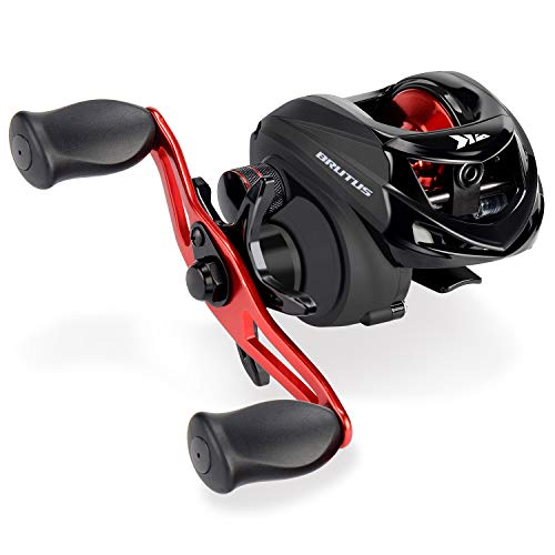 KastKing Brutus Baitcasting Fishing Reel, Low Profile, Graphite Frame, 6.3:1 Gear Ratio, 4+1 Shielded Stainless-Steel Ball Bearings, Magnetic Braking, Smooth Disc Drag System, Aluminum Handle.