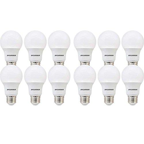 SYLVANIA 74470 60W Equivalent, LED Bulb, A19 Lamp, 12 Pack, Day Light, Energy Saving & Longer Life, Value Line, Medium Base, Efficient 8.5W, 5000K, Piece