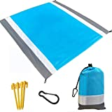 Beach Blanket, Beach Mat Outdoor Picnic Blanket Large Sand Free Compact for 7 Persons Water Proof and Quick Drying Beach Mat Mady by Premium Nylon Pocket Picnic Sheet for Outdoor Travel (78' X 81')