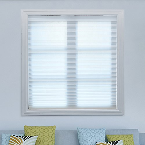 6 Pack White Cordless Pleated Fabric Shades Room Darkening Window Shades Blinds Easy to Install 48'x 72'