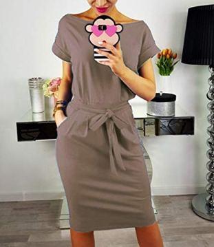PRETTYGARDEN Ladies Basic Crewneck Belted Office Dress