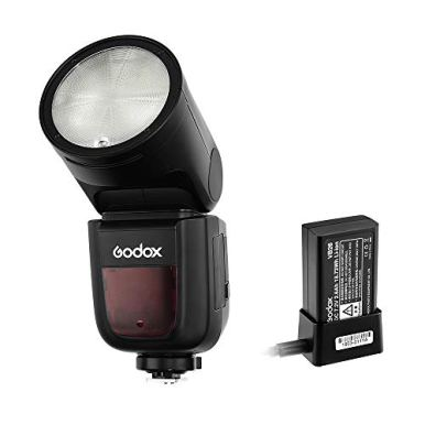 Godox-V1-N-Flash-for-Nikon-76Ws-24G-TTL-Round-Head-Flash-Speedlight-18000-HSS-480-Full-Power-Shots-15s-Recycle-Time-2600mAh-Lithium-Battery-10-Level-LED-Modeling-Lamp-WPergear-Color-Filters