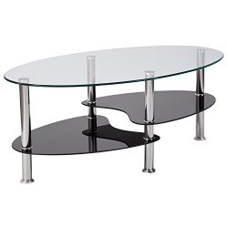Flash Furniture Hampden Glass Coffee Table with Black Glass Shelves and Stainless Steel Legs , One Size