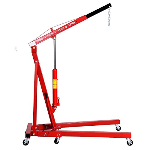 Goplus 2 TON Engine Hoist Stand Cherry Picker Ship Crane Folding Lift (Red)