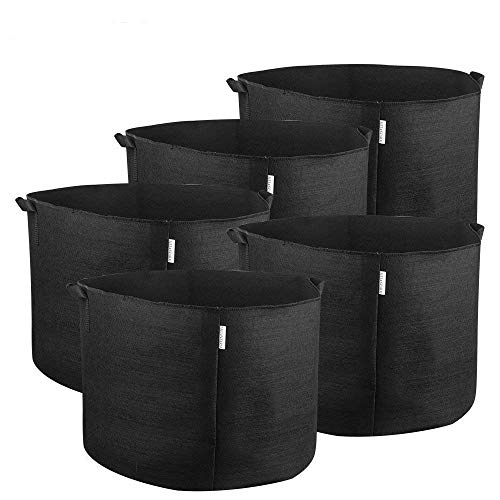 MELONFARM 5-Pack 20 Gallon Plant Grow Bags - Smart Thickened Non-Woven Aeration Fabric Pots Container with Strap Handles for Garden and Planting