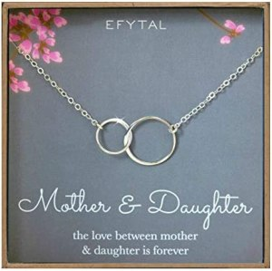 EFYTAL Mother Daughter Necklace – Sterling Silver Two Interlocking Infinity Double Circles, Mothers Day Jewelry Birthday Gift