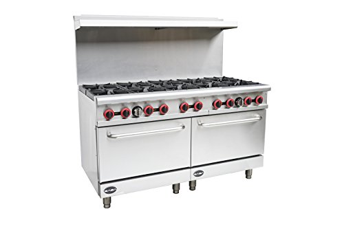 Heavy Duty Commercial 60' Gas 10 Burner Range with Oven