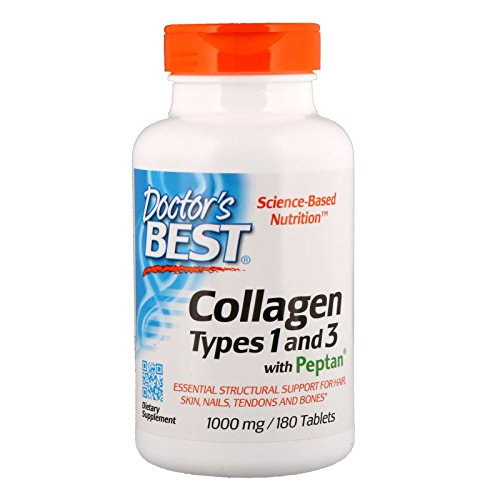 Doctor's Best Collagen Types 1 and 3 with Peptan, Non-GMO, Gluten Free, Soy Free, Supports Hair, Skin, Nails, Tendons and Bones, 1000 mg, 180 Tablets