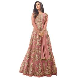 Aaru Fashion Women's Net Long Anarkali Gown with Dupatta (Free Size)