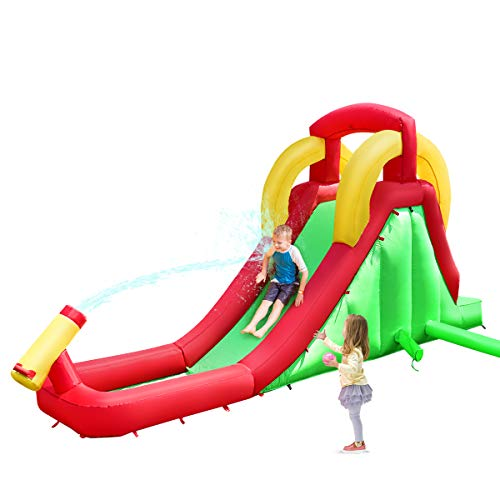 Costzon Inflatable Water Slide, Climb and Slide Bouncer for Kids Without Blower