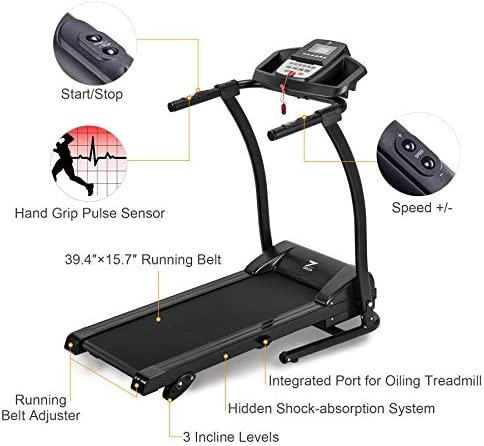 ZELUS 1100W Folding Treadmill for Home Gym with 3 Level Incline, Heart Monitor, Portable Electric Running Machine, Treadmill Foldable with Cup/Phone Holders/Mat 2