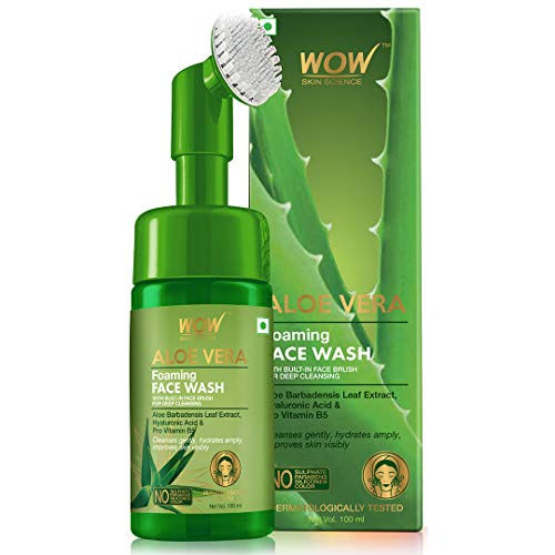 415Xyx8cV+L - WOW Skin Science Aloe Vera Foaming Face Wash With Built-In Face Brush For Deep Cleansing - No Parabens, Sulphate, Silicones & Color, 100 ml