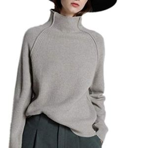 world-palm Autumn Winter high Collar Cashmere Sweater Female Knit Sweater Thick Loose Lazy Wool Sweater