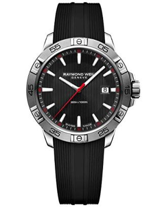 Raymond Weil Men's Tango Stainless Steel Swiss-Quartz Watch with Rubber Strap, Black, 19 (Model: 8160-SR2-20001)
