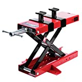 VIVOHOME Steel Motorcycle ATV Scissor Lift Jack Crank Hoist Stand with Saddle and Safety Pins 1100 lbs