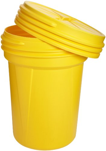 Eagle 1600SL Yellow High Density Polyethylene Lab Pack Drum with Plastic Screw-on Lid, 30 gallon Capacity, 28.25' Height, 22.5' Diameter