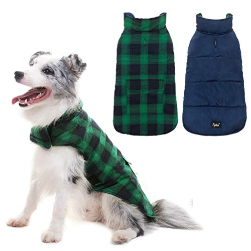 PUPTECK Reversible Dog Winter Clothes Waterproof Cold Weather Coat Blue & Green Large