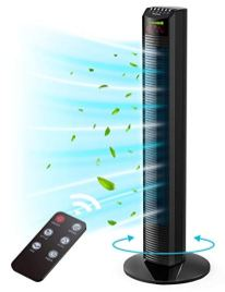 Tower-Fan-Homech-Whole-Room-Wind-Curve-Auto-Oscillating-Tower-Fan-with-Remote-Quiet-Cooling-3-Modes-3-Speeds-up-to-12H-Timer-LED-Display-with-Auto-Screen-Off-Floor-Bladeless-Fan