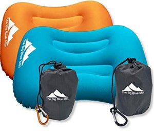The Big Blue Mtn Inflatable Camping Pillow with Lightweight Compact Pouch Sack and Carabiner - Ultralight Backpacking Camp Hiking Summit Gear for Beach Sea Travel Hammock