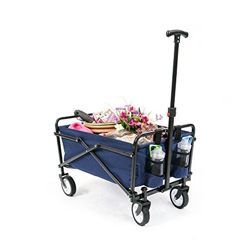 YSC Wagon Garden Folding Utility Shopping Cart,Beach Red (Navy Blue)