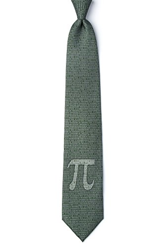 Men's Green Microfiber Pi Symbol to the 50th Decimal Mathematics Math Nerd/Geek Novelty Tie Necktie (Extra Long)