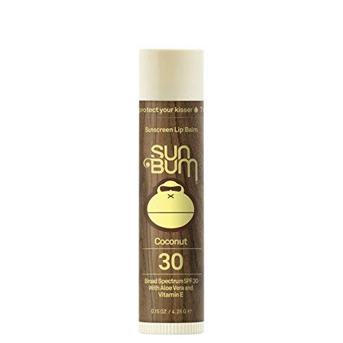 Sun Bum Coconut Sunscreen Lip Balm, SPF 30, 0.15 oz Stick, 1 Count, Broad Spectrum UVA/UVB Protection, Hypoallergenic, Paraben Free, Gluten Free, Vegan