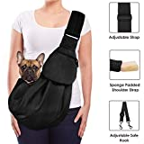 Lukovee Pet Sling, Hand Free Dog Sling Carrier Adjustable Padded Strap Tote Bag Breathable Cotton Shoulder Bag Front Pocket Safety Belt Carrying Small Dog Cat Puppy Machine Washable (Black)