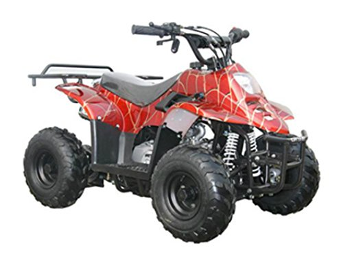 MOTOR HQ 110cc ATV Fully Automatic Four Wheelers 4 Stroke Engine 6' Tires Quads for Kids Red Spider