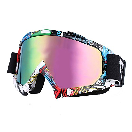 Motocross Goggles,HTOMT Adjustable Motorcycle Riding Glasses Eyewear Windproof Anti-UV Safety Anti-fog Ski Goggles Outdoor for Snow Skiing, Cycling, Climbing