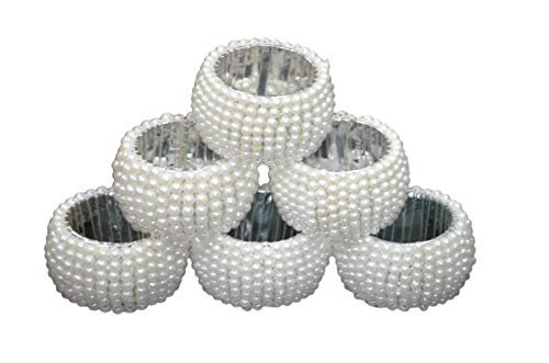 Indian Accent Table Decoration Beaded Napkin Rings (Set of 6) (White)