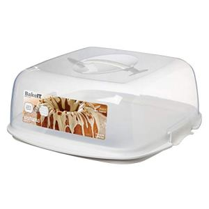 Sistema KLIP IT Cake and Cupcake Storer with Reversible Tray, 8.8 L – Clear with White Clips 415qZKGHLqL