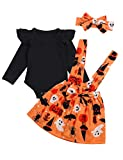Halloween Dress Outfit Newborn Baby Girl Clothes Ruffle Romper Top Suspender Pumpkin Bat Ghost Skirt Outfit Set with Headband(12-18 M) Black