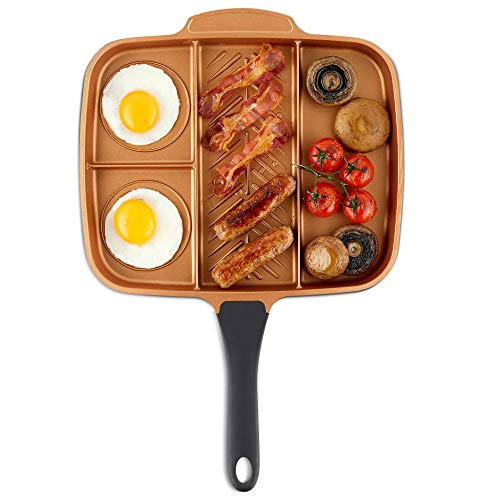 VonShef Grill Pan Non Stick Aluminum, Easy Clean Griddle With Copper Colored Interior and Stainless Steel Handle, Induction Hob Ready, 11 Inches Diameter (11' Diameter (4-in1 Divided Pan))