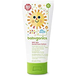 Babyganics Baby Sunscreen Lotion, SPF 50, 6oz Tube (Pack of 2)
