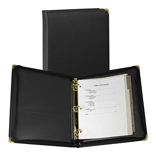 Samsill Classic Collection Executive Presentation 3 Ring Binder/Portfolio Binder, 1.5 Inch Binder, Zipper Closure, 1.5 Inch Brass Round Ring, Black