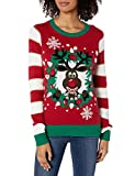 Ugly Christmas Sweater Company Women's Assorted Pullover Xmas Sweaters with Multi-Colored LED Flashing Lights, Cayenne Light-Up Reindeer Wreath, S